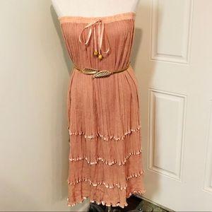 Mauve dusty rose boho dress maxi skirt hippie